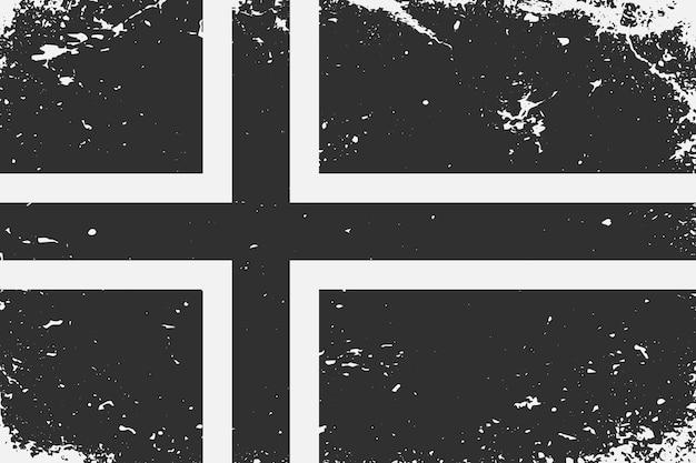 Bandiera in bianco e nero in stile grunge norvegia