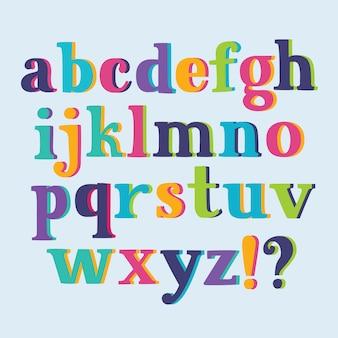 Grungy colorato, disegnato a mano alfabeto minuscolo / font / lettere.