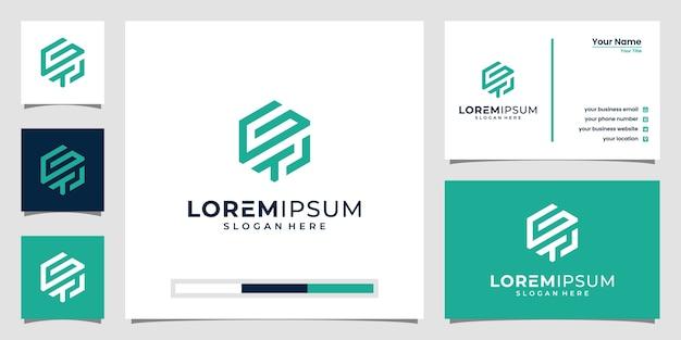 Gtl logo lettera ispirazione. con disegni al tratto e stile esagonale.