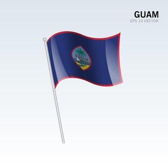 Bandiera sventolante di guam isolata su gray