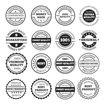 Set di badge e loghi di garanzia. immagini monocromatiche con posto per il testo. etichetta e distintivo garantiscono l'illustrazione di soddisfazione