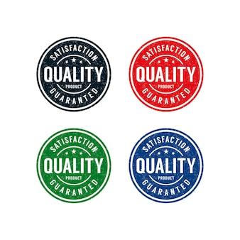 Design del logo del timbro del prodotto di qualità garantita