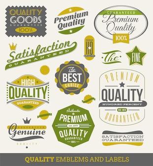 Garantito e qualità - segni, emblemi ed etichette. illustrazione.