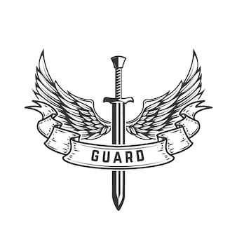 Guardia. modello di emblema con spada alata. illustrazione