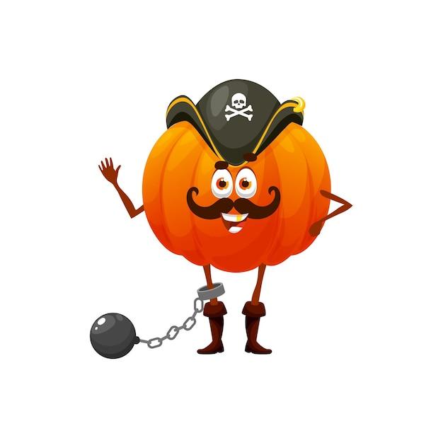 Guard zucca vegetariano pirata o bucaniere isolati personaggi dei cartoni animati divertenti. corsaro giocoso vettoriale con cappello, prigioniero con manubri, verdure emoji bambini bambini con baffi agitando la mano