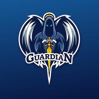 Disegno del logo della mascotte dell'angelo custode