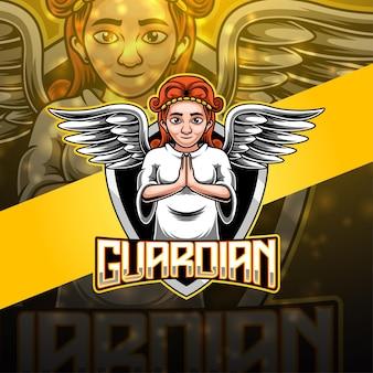 Design del logo della mascotte di guardian esport