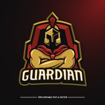 Logo mascotte illustrazione guardiano