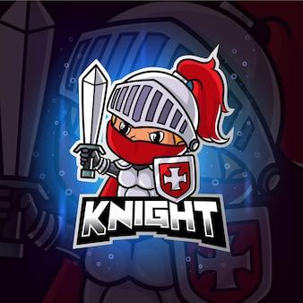 Guardiano cavaliere mascotte esport logo colorato