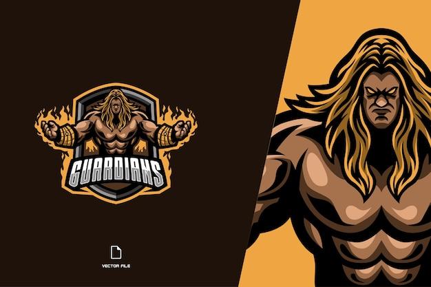 Logo della mascotte del combattente forte guardiano per l'illustrazione della squadra di esport