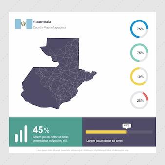 Modello di infografica mappa e bandiera del guatemala