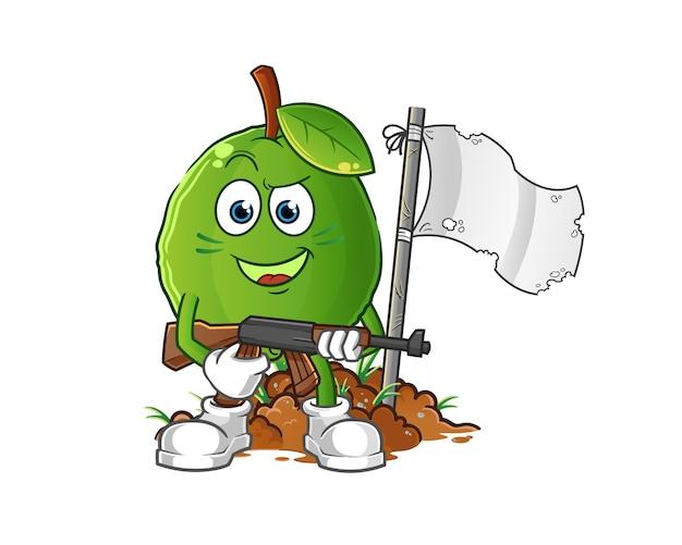 Carattere dell'esercito di guava. mascotte dei cartoni animati