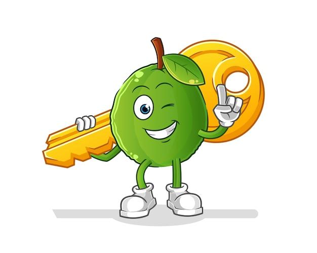 Guava porta la mascotte chiave. cartone animato