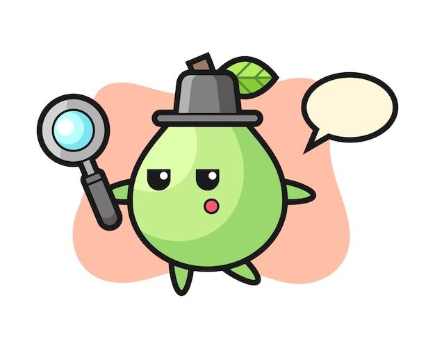 Personaggio dei cartoni animati di guava alla ricerca con una lente d'ingrandimento, stile carino per maglietta, adesivo, elemento logo
