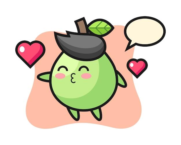 Personaggio dei cartoni animati di guava con gesto di baciare, stile carino per t-shirt, adesivo, elemento logo