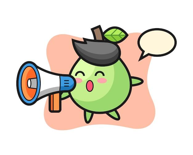 Illustrazione di carattere guava che tiene un megafono, stile carino per t-shirt, adesivo, elemento logo