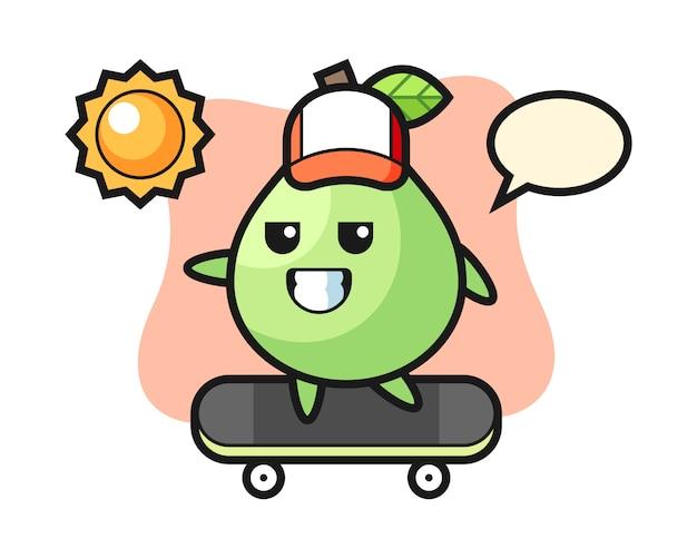 Illustrazione di carattere guava cavalcare uno skateboard, stile carino per t-shirt, adesivo, elemento logo