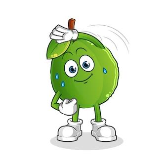 Carattere di allungamento della guava. mascotte dei cartoni animati