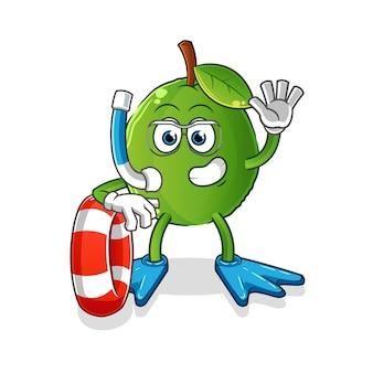Nuotatore guava con mascotte boa. cartone animato