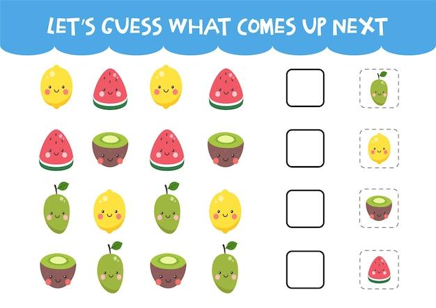 Indovina cosa verrà fuori il prossimo gioco con graziosi frutti colorati