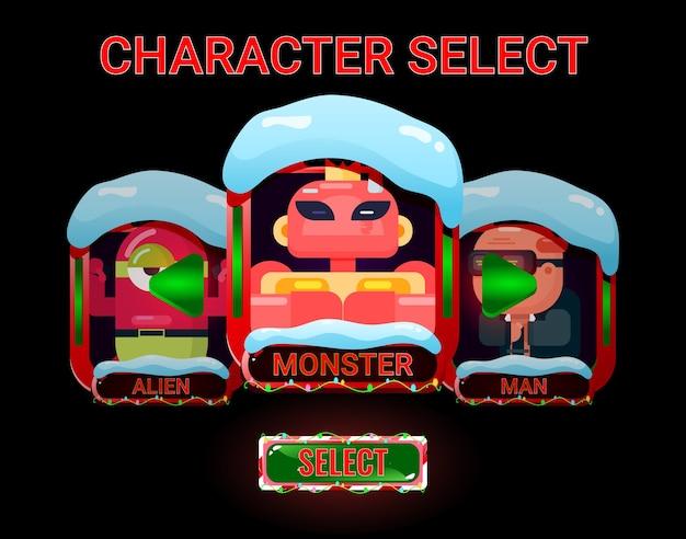 Interfaccia di selezione dei personaggi gui con tema nevoso