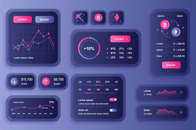 Elementi della gui per l'app mobile di criptovaluta