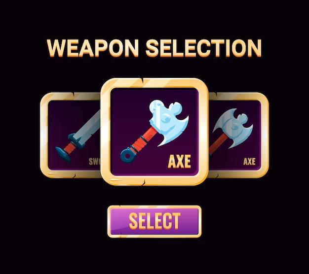 Interfaccia di selezione delle armi gui, perfetta per l'interfaccia utente di gioco 2d