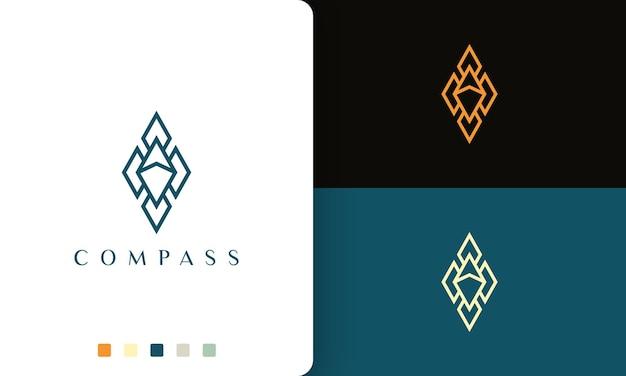 Disegno vettoriale del logo della guida o dell'avventura con una forma a bussola semplice e moderna