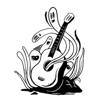 Chitarra e simpatico doodle