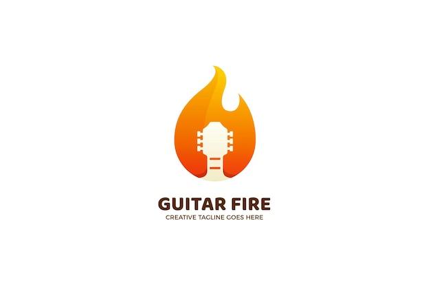 Modello di logo gradiente di musica in metallo di chitarra fuoco