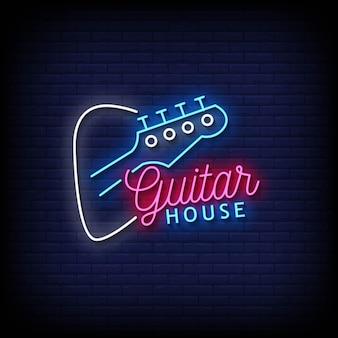 Guitar house insegne al neon stile testo vettoriale