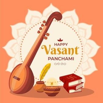 Strumento a chitarra felice vasant panchami