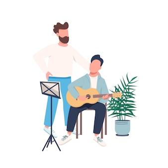 Carattere senza volto di colore piatto lezione di chitarra Vettore Premium
