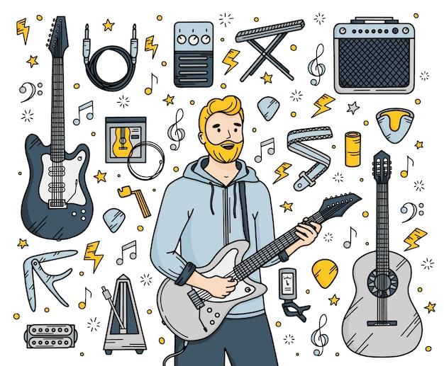 Musica per chitarra ambientata in stile doodle con un chitarrista uomo