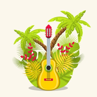 Strumenti musicali per chitarra. chitarra con fiori e foglie.