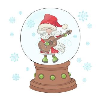 Chitarra santa musicista di cartoni animati natalizi