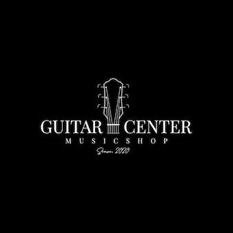 Vettore di progettazione del logo dell'etichetta del negozio di chitarre
