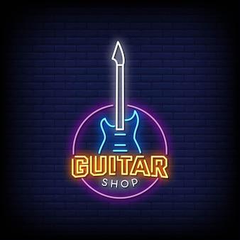 Guitar shop logo insegne al neon stile testo