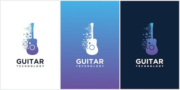 Modello di progettazione di guitar tech, set di icone di chitarra acustica, logo di guitar technology music studio.