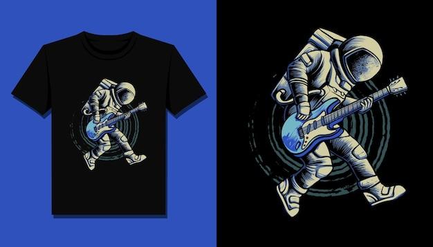 Prestazioni di astronauta chitarrista per il design della maglietta