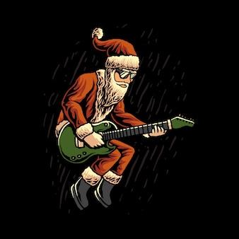 Illustrazione di babbo natale chitarrista