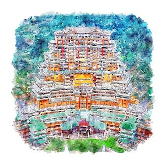 Illustrazione disegnata a mano di schizzo dell'acquerello di guizhou cina