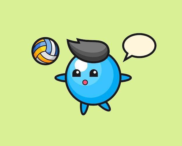 Il fumetto di palla di gomma sta giocando a pallavolo