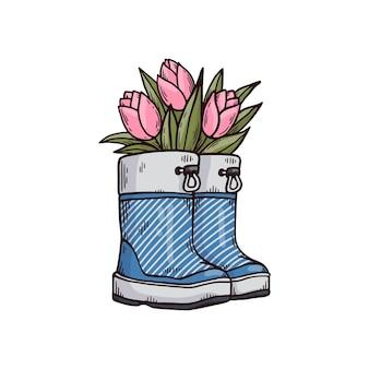 Stivali di gomma o stivali di gomma da giardino con i fiori dei tulipani all'interno, illustrazione di vettore del fumetto di schizzo isolata sulla superficie bianca