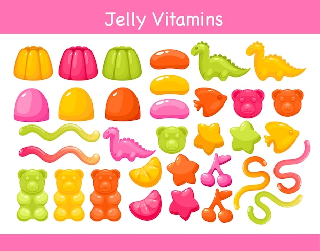 Gelatina di vitamine da masticare gommosa con set di illustrazioni di sapore di frutta.