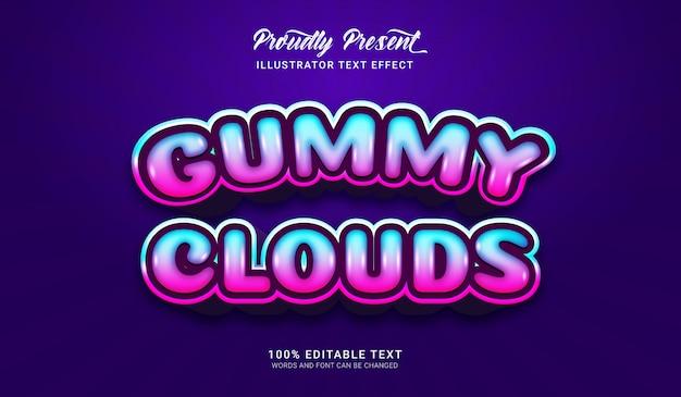 Effetto stile testo nuvole gommose. effetto di testo modificabile