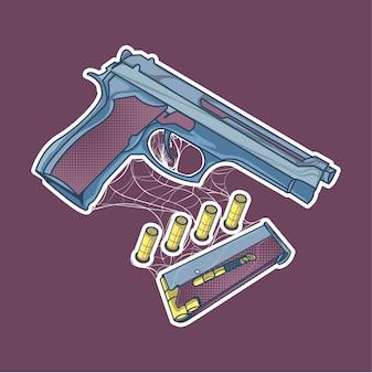 Illustrazione di pistola e proiettile