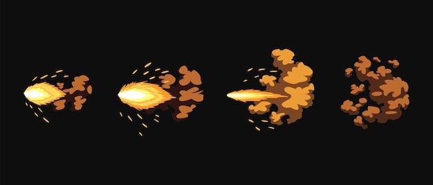 Lampi di pistola o animazione di colpi di arma da fuoco. effetto di esplosione del fuoco durante lo sparo con la pistola. effetto flash del fumetto dell'inizio del proiettile. fucile a pompa, museruola lampeggiano ed esplodono.