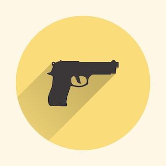 Illustrazione dell'icona della pistola. immagine creativa e retrò