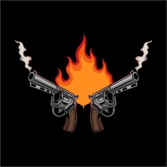 Pistola con illustrazione vettoriale di fuoco